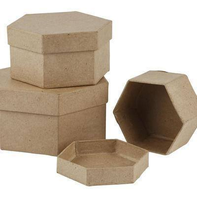 Set/3 Hexagonal Shaped Boxes Craft Storage Brown Paper Mache Decorate Hand Made - Hobby & Crafts