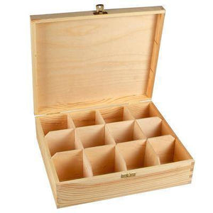 Wooden 12 Compartments Tea Bags Storage Treasure Box To Decorate - Hobby & Crafts