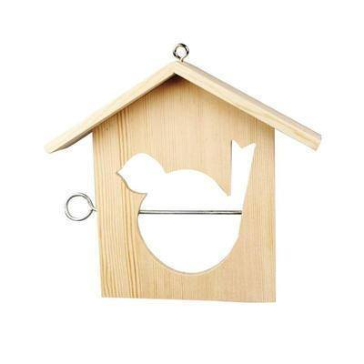 Small 21cm Wooden Bird House Feeder Craft Hanging Decorate/Paint Design Create - Hobby & Crafts