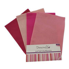 8 x A4 Dovecraft Polyester Craft Felt Sheets - Pinks - Hobby & Crafts