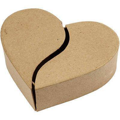 Love Heart Shaped Box Craft Hidden Storage Paper Mache Create Decorate Hand Made - Hobby & Crafts