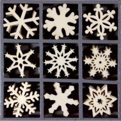Wooden Decorations Embellishments Toppers - Crystal Snowflakes - Hobby & Crafts