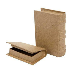 2 x Book Shaped Boxes Craft Hidden Storage Brown Paper Mache - Hobby & Crafts
