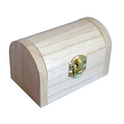 Wooden Treasure Chest Dome Shaped Storage Box - Hobby & Crafts