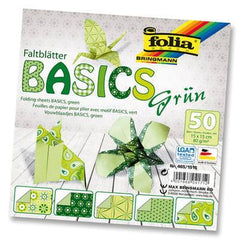 Origami Paper Assorted Double Sided 50 Sheets 15x15cm - Green - Hobby & Crafts