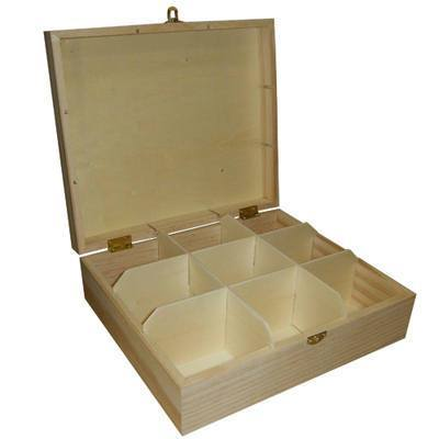 9 Compartment Teabag Wooden Box Storage Kitchen 23cm - Hobby & Crafts