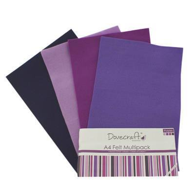 8 x A4 Dovecraft Polyester Craft Felt Sheets - Purples - Hobby & Crafts