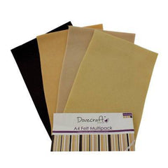 8 x A4 Dovecraft Polyester Craft Felt Sheets - Naturals - Hobby & Crafts