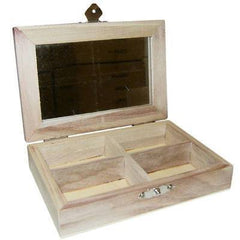 Wooden Mini Jewellery Box With 4 Compartments And Mirror To Decorate - Hobby & Crafts