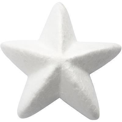 5 x  Polystyrene White Star Shape Craft Decoration - 11 cm - Hobby & Crafts