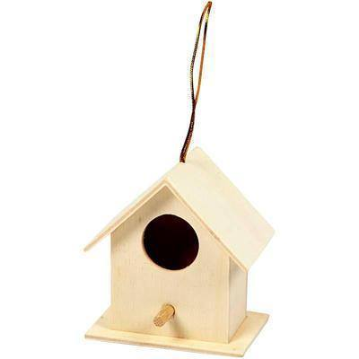 Wooden Craft Poplar 6cm Bird House Feed Decorate Small Garden Hanging Decoration - Hobby & Crafts