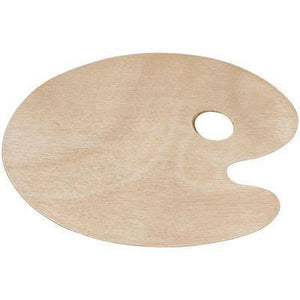Wooden Artists Painting Palette 22cm x 30cm Oval Craft Paint with Hole Wood Art - Hobby & Crafts