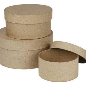 3 Round Shaped Boxes Craft Storage Brown Paper Mache Create Decorate Hand Made - Hobby & Crafts