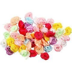 Small Satin Roses Hand Made Decoration Craft Card Making Embellishment x 50 Asst - Hobby & Crafts