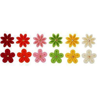 Felt Flowers Laser Cut Decoration Craft Card Making Embellishment 6 Colours - Hobby & Crafts
