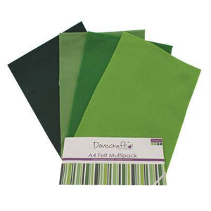 8 x A4 Dovecraft Polyester Craft Felt Sheets - Greens - Hobby & Crafts