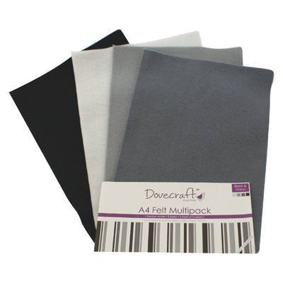 8 x A4 Dovecraft Polyester Craft Felt Sheets - Blacks and Greys - Hobby & Crafts