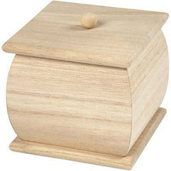 Natural Wooden Mini Box 7.5 cm Removable Lid Decorate or Paint - Hobby & Crafts