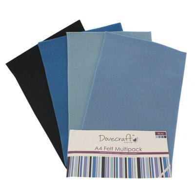 8 x A4 Dovecraft Polyester Craft Felt Sheets - Blues - Hobby & Crafts