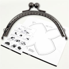 Antique Silver Metallic Curved Purse Clasp Kit With Sewing Holes Bag Accessories - Hobby & Crafts