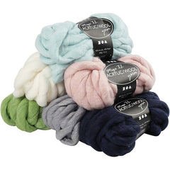 6 x Assorted Colour Acrylic Wool Chunky Yarn Knitting Crocheting Crafts 300 gm - Hobby & Crafts