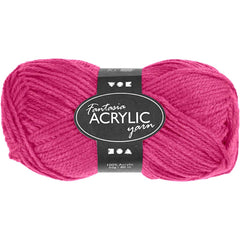 50g Fantasia Knitting 100% Acrylic Wool Double Knitting Yarn 80 m - Neon Pink - Hobby & Crafts