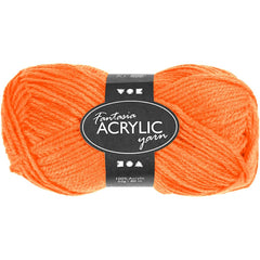 50g Fantasia Knitting 100% Acrylic Wool Double Knitting Yarn 80 m - Neon Orange - Hobby & Crafts