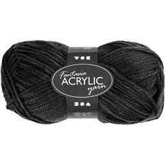 50g Fantasia Knitting 100% Acrylic Wool Double Knitting Yarn 80 m - Black - Hobby & Crafts