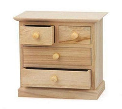 Mini 17 cm Craft Wooden Jewellery Box Large & Small Drawers Paint Decorate