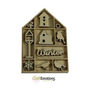 Wooden Ornament Decorations Embellishments Toppers 10 x Assorted Design Bird Birdhouse - Hobby & Crafts