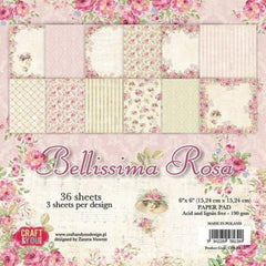 "Bellissima Rosa Paper Pad 190gsm 36 Sheets 6 x 6"" Single Sided 12 Designs by Craft&You"