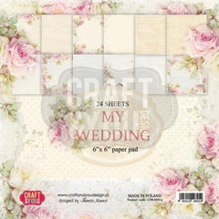 "My Wedding Paper Pad 190gsm 36 Sheets 6 x 6"" Single Side 12 Designs by Craft&You"