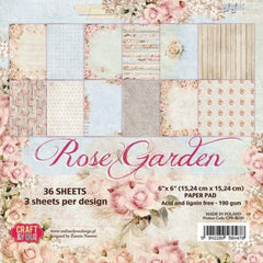 "Rose Garden Paper Pad 190gsm 36 Sheets 6"" x 6"" Single Side 12 Designs by Craft&You"