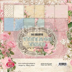 "Vintage Time Paper Pad 190gsm 36 Sheets 6 x 6"" Single Side 12 Designs by Craft&You"