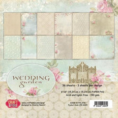 "Wedding Garden Paper Pad 190gsm 36 Sheets 6 x 6"" Single Side 12 Designs by Craft&You"