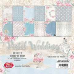 "Pastel Wedding Paper Pad 190gsm 36 Sheets 6 x 6"" Single Side 12 Designs by Craft&You"