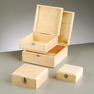 Set Of 4 Wooden Square Boxes Untreated Wood Storage Office Trinket - Hobby & Crafts