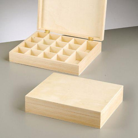 Wooden Tea Box 18 Compartments Pine Wood Magnetic Closure Craft 25 x 29 x 5.5 cm - Hobby & Crafts