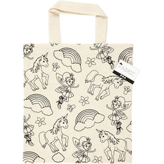 Light Natural Colour Unicorn Print Motif Cotton Shopping Bag For Storage 135g/m2 - Hobby & Crafts