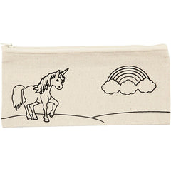 Light Natural Colour Unicorn Print Motif Cotton Pencil Case For Storage 245 g/m2 - Hobby & Crafts