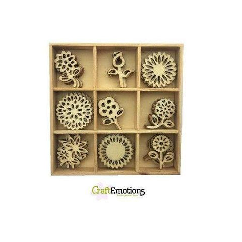 Wooden Ornament Decorations Embellishments Toppers 9 x Assorted Design Flowers - Hobby & Crafts