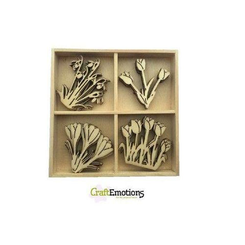 Wooden Ornament Decorations Embellishments Toppers 4 x Assorted Design Spring Flowers - Hobby & Crafts