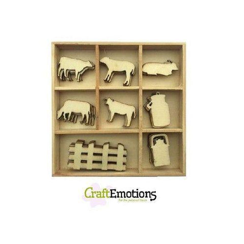 Wooden Ornament Decorations Embellishments Toppers 8 x Assorted Design Cows - Hobby & Crafts