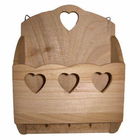 Wooden Sweet Heart Letter Rack Key Hooks Personalise & Decorate - Hobby & Crafts