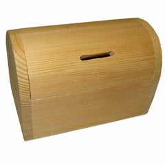 Wooden Money Box Treasure Chest Shape Plain Decorate Decoupage - Hobby & Crafts