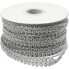 Silver Braided Metallic 10 mm Trim Ribbon Sewing Card Making Craft x 10m