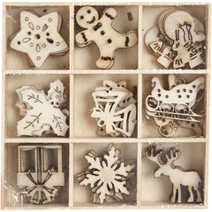 45 x Wooden Die Cut Christmas Ornaments With Box Decoration Crafts 28 mm