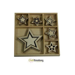 Wooden Ornament Decorations Embellishments Toppers 6 x Assorted Design 5 Point Star For Sweet Vintage Christmas - Hobby & Crafts