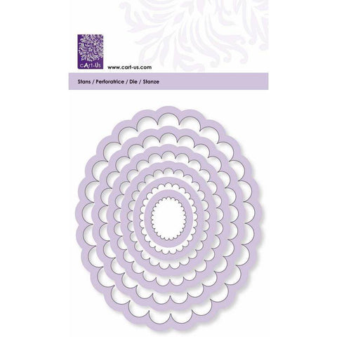 Scallop Oval Frame All Machine Punching Embossing Stencil Decoration Craft 24-116 mm - Hobby & Crafts
