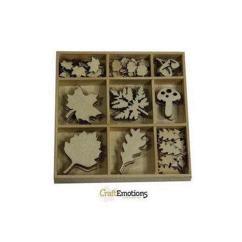 Wooden Ornament Decorations Embellishments Toppers 9 x Assorted Design Large Small Leaves - Hobby & Crafts